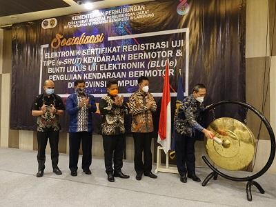 Kementrian Perhubungan Beri Penghargaan Kepada Dishub Kabupaten Lampung Tengah Terkait Unit Pelaksana Pengujian Kendaraan Bermotor