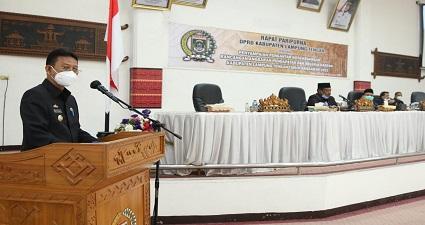 Pjs.Bupati Lamteng Ady Erlansyah Hadiri Acara Penyampaian Pengantar Nota Keuangan RAPBD TH. 2021