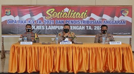 Kapolres Lamteng AKBP. Popon Ardianto,S.Ik. Pimpin Kegiatan Sosialisasikan Dipa Rka-K/L TA. 2021 Dan Pendistribusian Anggaran TA. 2021