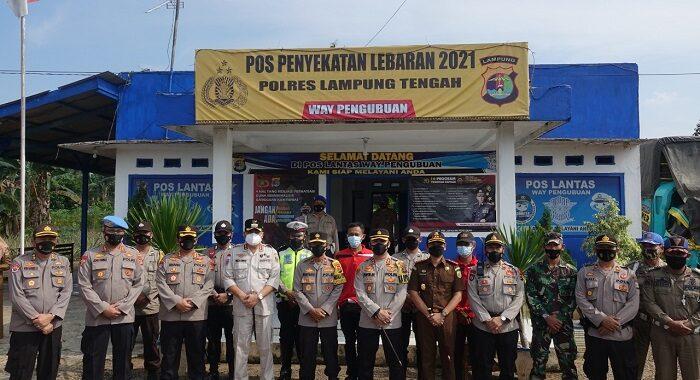 Waka Polda Lampung Kunjungi Pos Pam Dan Pos Yan Serta Pos Penyekatan Didampingi Bupati Lamteng Musa Ahmad